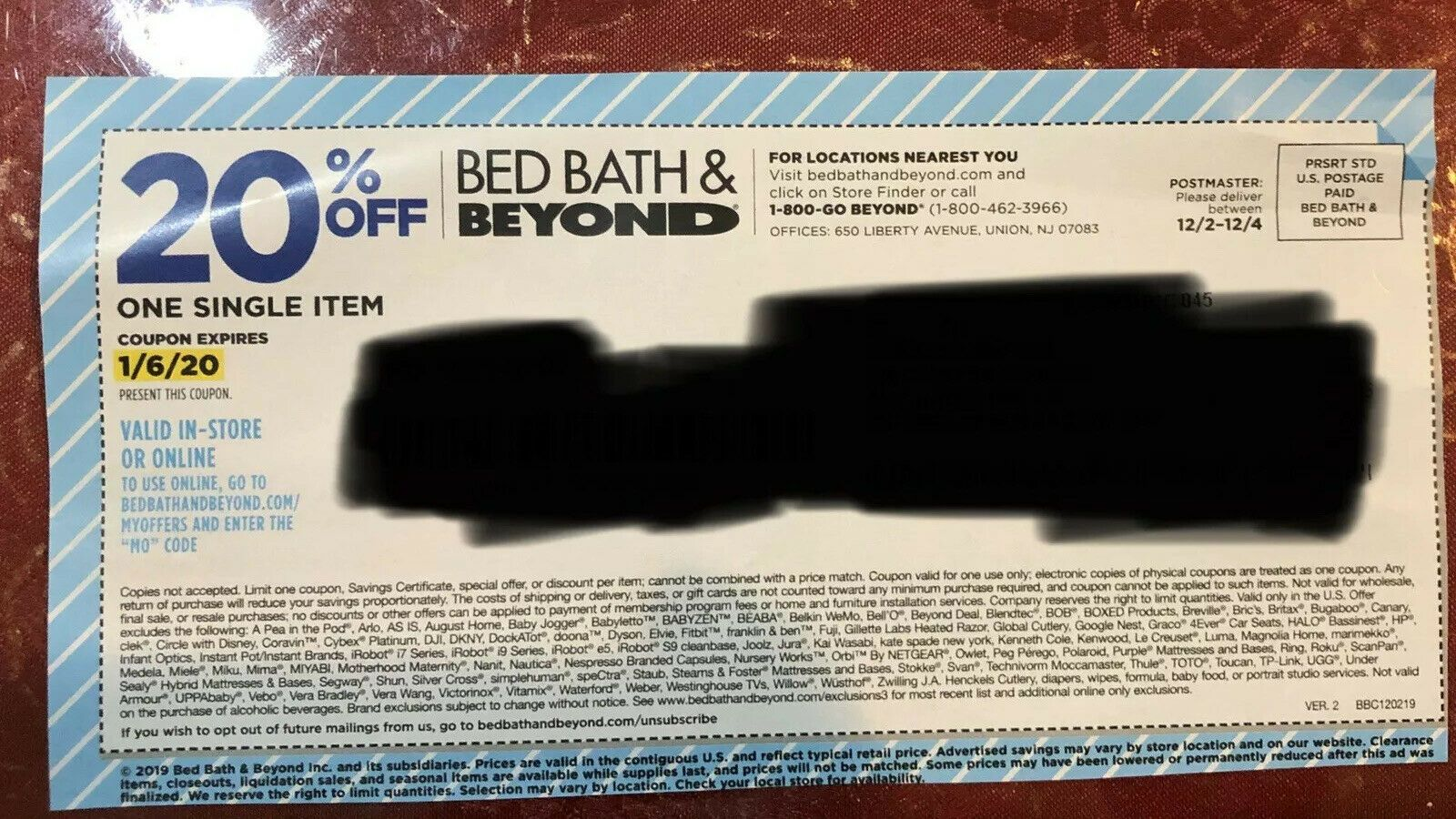 Details About Bed Bath And Beyond 20 Off Single Item Expires 1 6