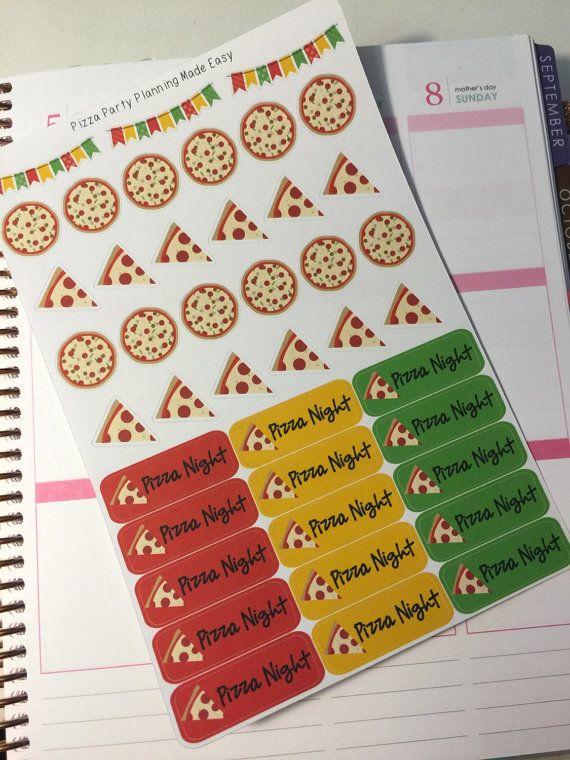 pizza party stickers perfect for your erin condren life planner calendar paper plum filofax