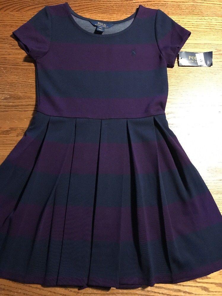 a1228b9781eb4 Polo, Ralph Lauren Girls Size Medium, 8-10 Striped Short Sleeve Dress NWT |  eBay