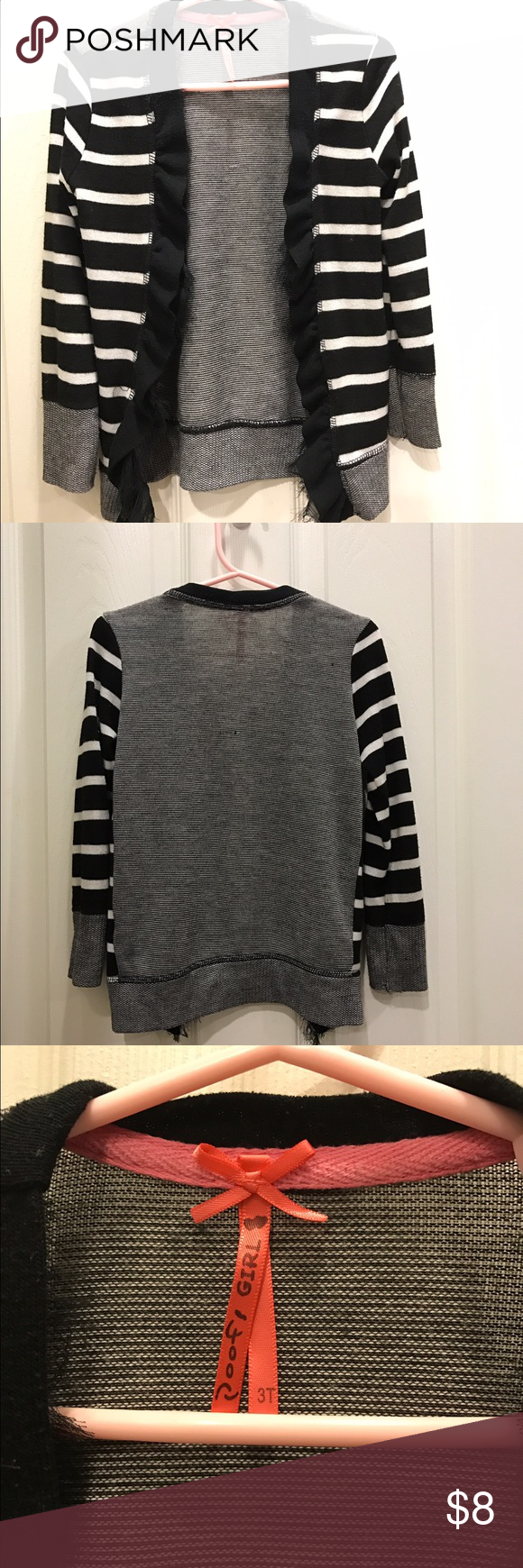 Children's cardigan Cute toddler girls black and white striped cardigan. Very well taken care of, smoke free home. Shirts & Tops Sweaters