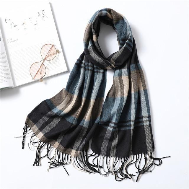 Plaid Shawls For Men Fashion Winter Scarf Cashmere Casual Wear Warm Foulard Wrap