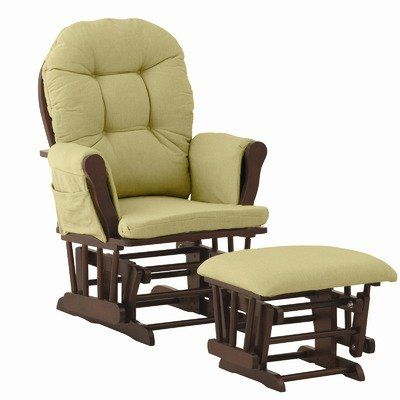 $176.99-$219.00 Baby Stork Craft Hoop Glider and Ottoman, Cherry/Green Chenille - 06550-644  Features: -Ideal glider and ottoman combination for your nursery with generous seating room, padded arm cushions and a pocket to store your belongings.-Featuring metal, enclosed ball bearings for a smooth glide motion to help you unwind.-Back and seat cushions are spot cleanable, keeping the look clean a ...