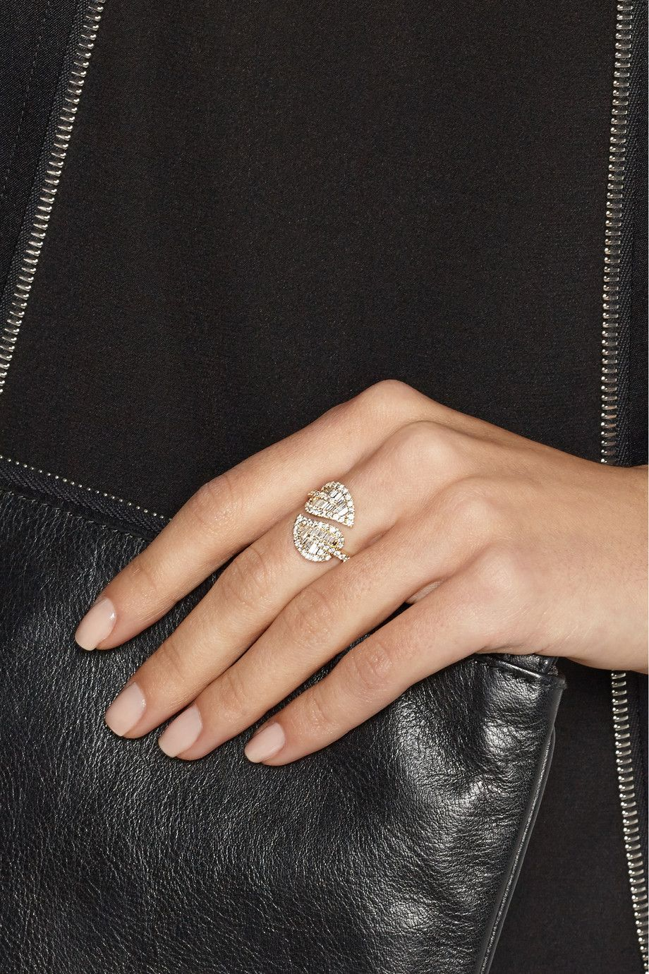 Anita Ko | Large Leaf 18-karat gold diamond ring, two leaves, open band, pave & baguette cut diamonds