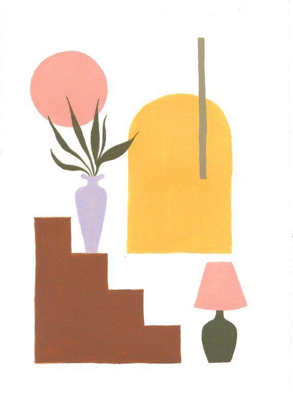 Abstract Art Print  – Illustration by Taylor Ann – Geometric Gouache Painting – Austin Texas – Minimalist Art Print