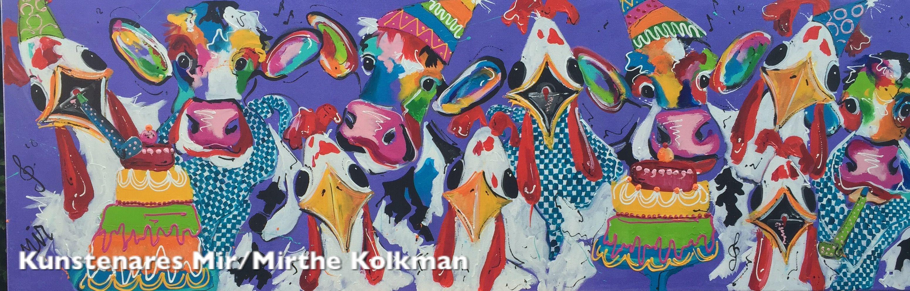 Schilderij Feestkoeien en kippen Mir Size . 60x180x4cm painting party cows and chickens
