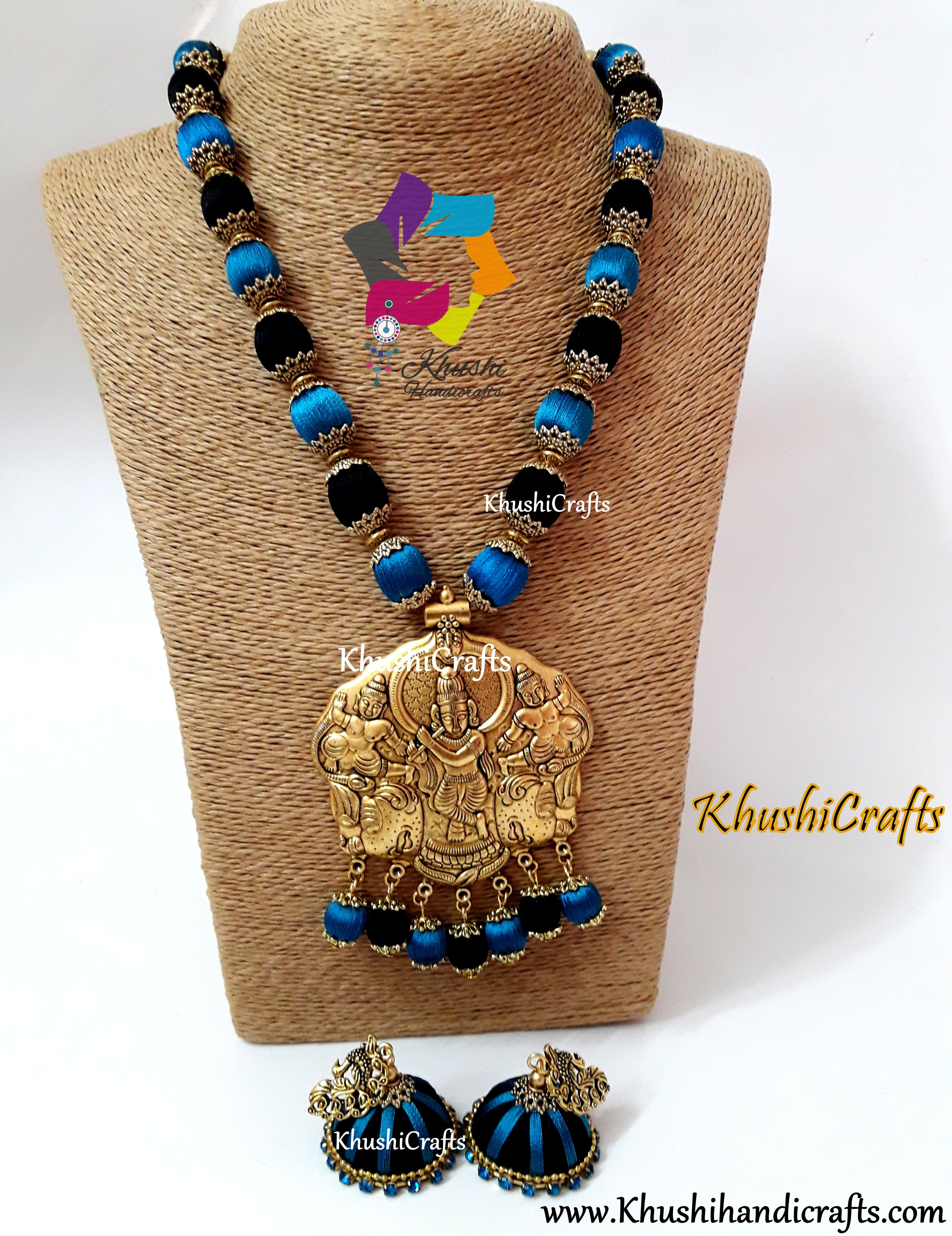 2138df376 Handmade Silk thread Jewellery set consists of a neclace,a pair of earrings  as indicated in the snap crafted in Peacock Blue and Black accompanied with  ...
