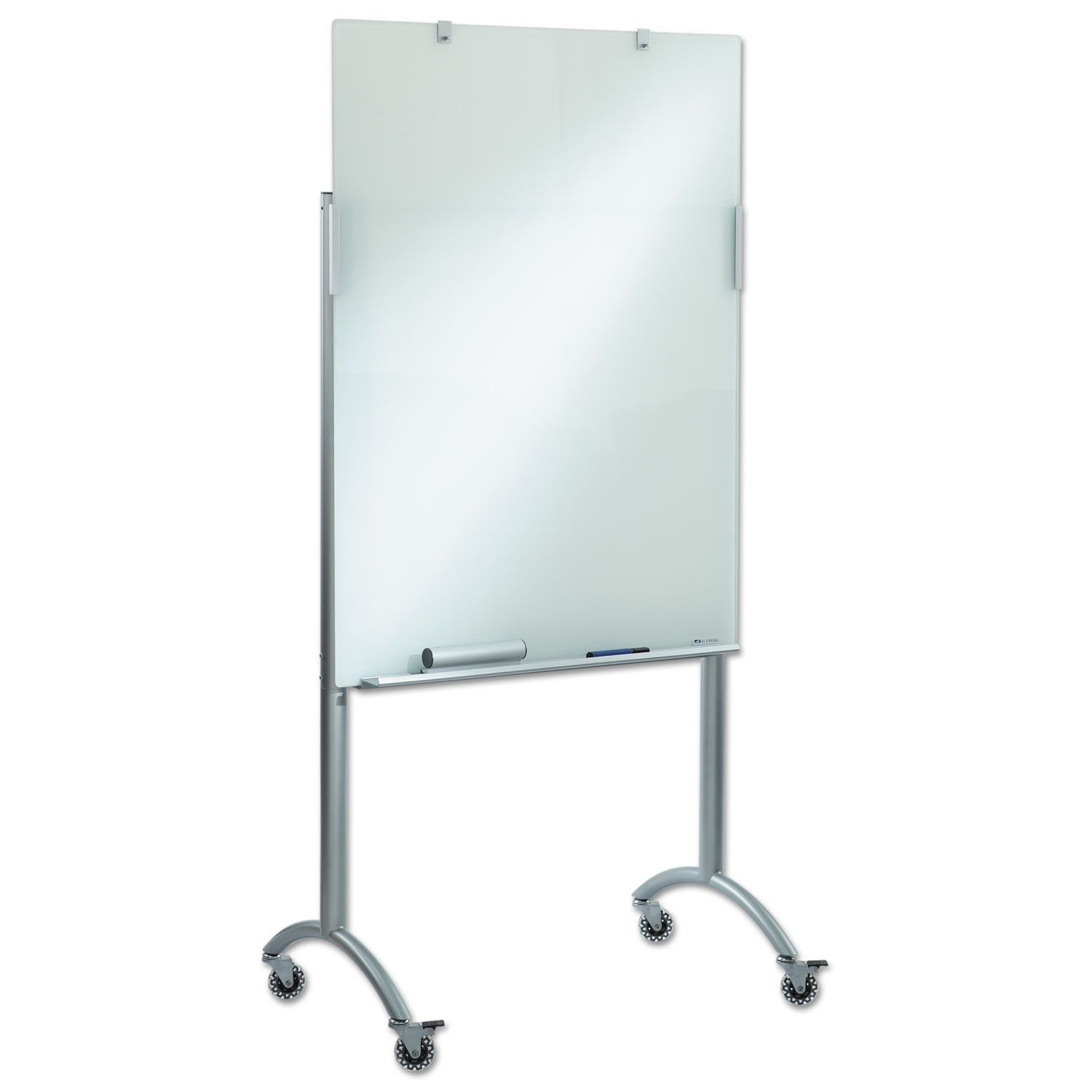 """Clarity Glass Mobile Presentation Easel, 36"""" X 48"""" X 72"""", Glass/steel"""
