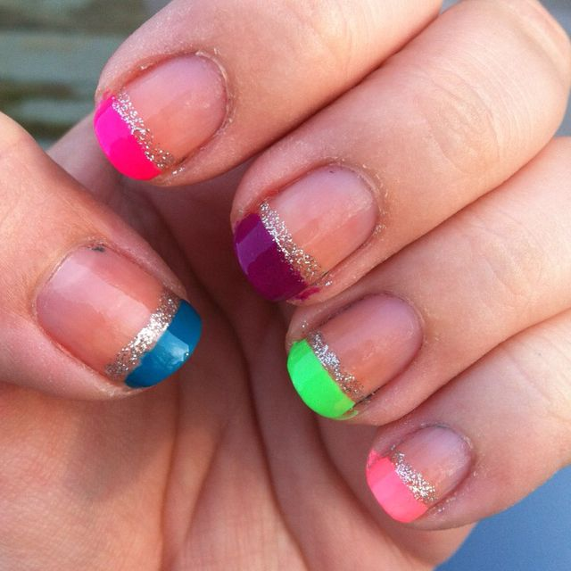 Neon French! Super easy! | Nails