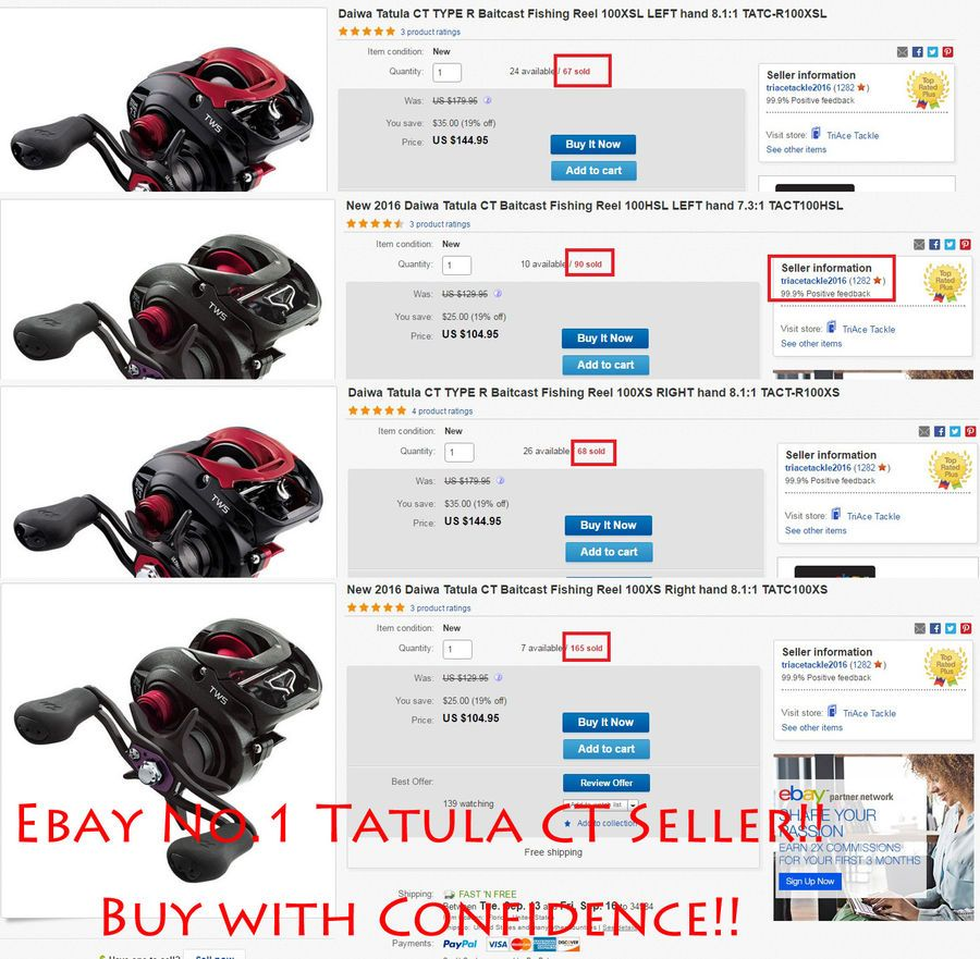 Daiwa Tatula CT Baitcast Fishing Reel 100XS Right hand 8.1