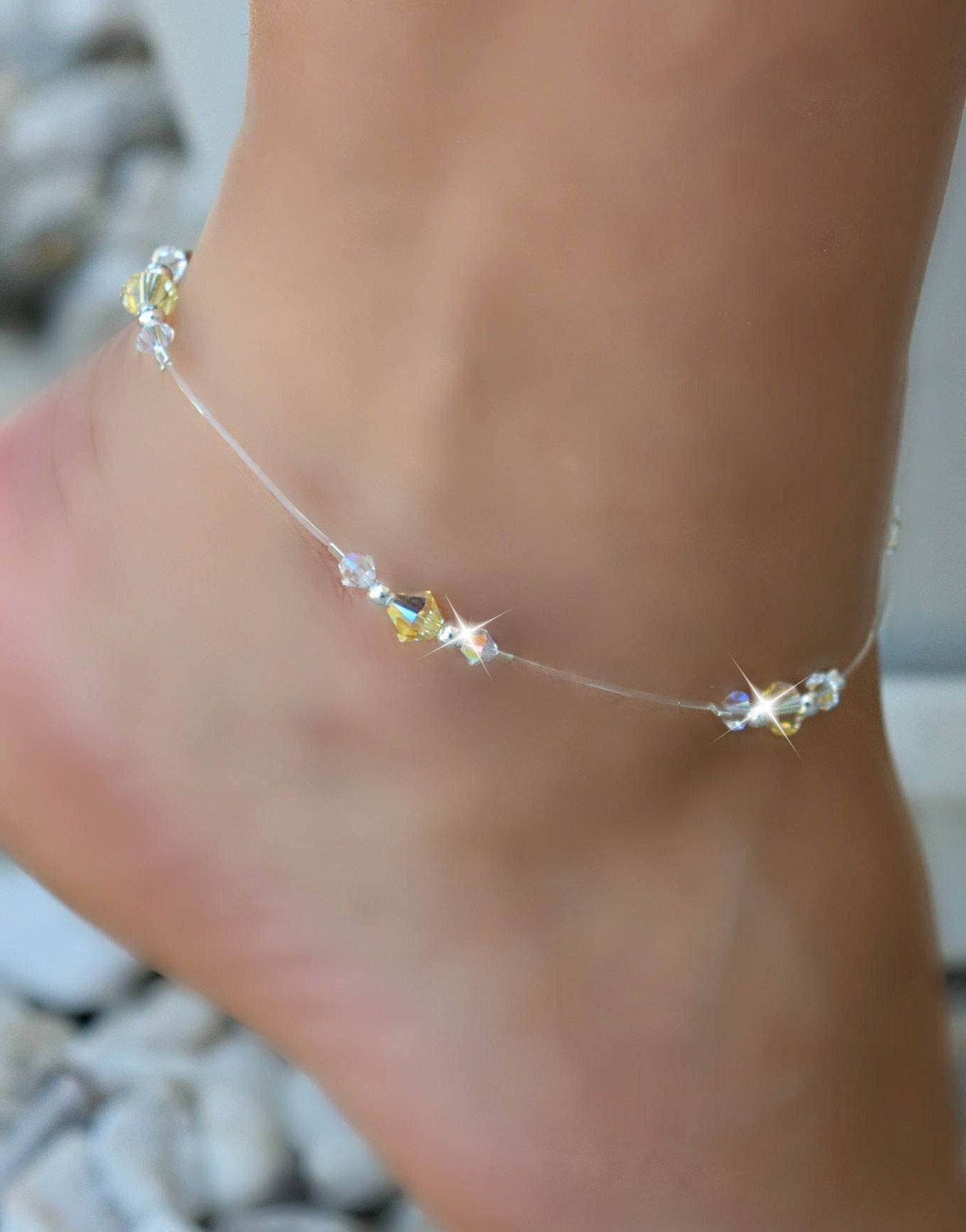 anklet clear or pretty charm beads dangle blue pink ankle bracelets pin with bracelet bird