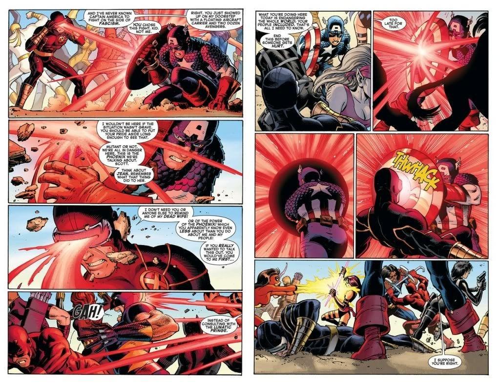 Cap Vs Cyclops Avengers Vs Xmen 2 Marvel Captain America Cyclops Marvel Avengers Team