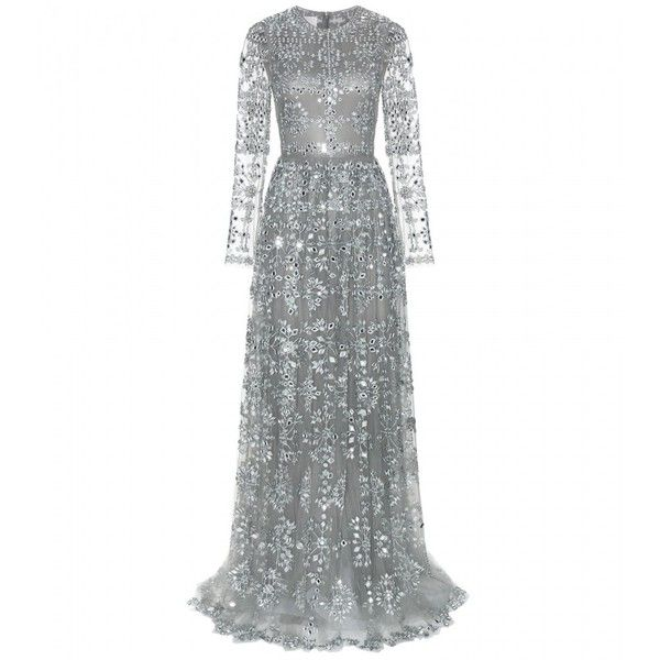 Valentino Embellished Tulle Gown (€20.875) ❤ liked on Polyvore featuring dresses, gowns, long dresses, valentino, grey, grey gown, tulle dress, tulle gown and long gray dress
