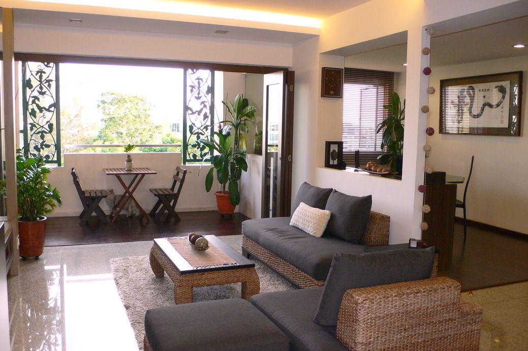 Hdb living room dividing the space for the home for Balcony ideas singapore
