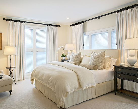 How To Combine Shutters With Curtains To Create Height And Beauty Master Bedroom Colors Home Bedroom Traditional Bedroom
