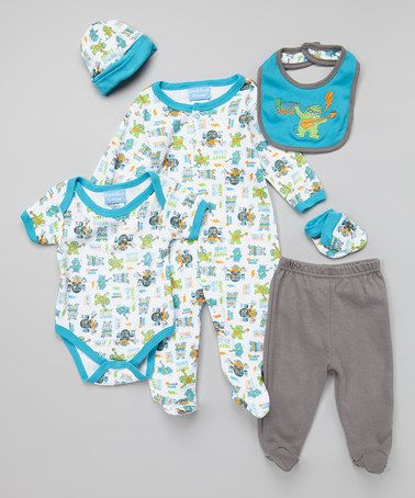 White & Blue 'Monster Rock' Six-Piece Layette Set - Infant by Duck Duck Goose #zulily #zulilyfinds