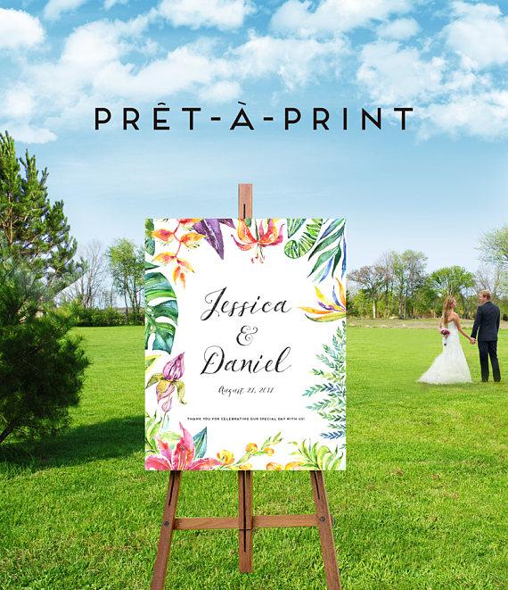 Hawaiian Wedding Reception Ideas: Printable Tropical Wedding Sign, Wedding Reception Decor