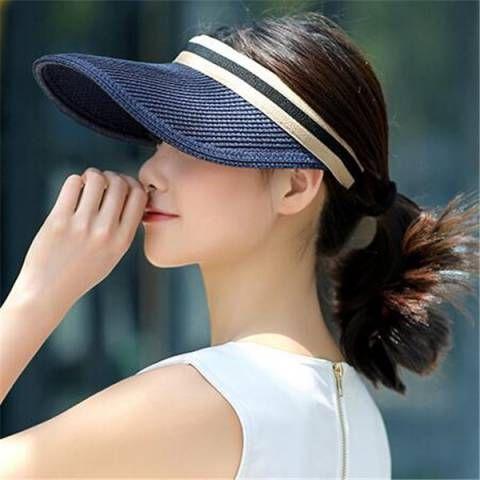 e7c3d714c98 Summer straw visor hat for women casual sports sun hats