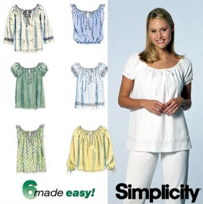 Misses PEASANT RENAISSANCE Top Sewing Pattern - 6 EASY Tops Sizes 12 ...