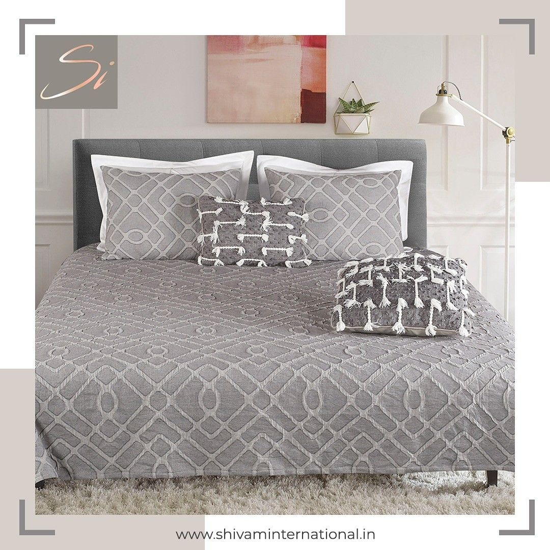 Shivam International brings you the tranquility of grey to your bedroom. An exquisite grey bedsheet and pillow cover set that shall spread a calming ambience in your bedroom.  .  .  #shivaminternational #bedsheets #bedroomgoals #HomeDecor #homedesign #luxurylifestyle #decor #bedroominspiration #cushions #designercushions #decorativecushions #designerbedsheets