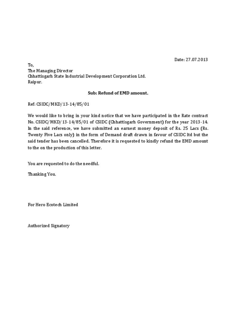 Letter For Refund Emd Sample Denying Request Protestirate  Home