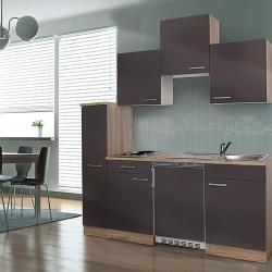 Photo of Respekta cucina singola Kb180esgc (larghezza: 180 cm, con piano cottura in vetroceramica, grigio) Respekta