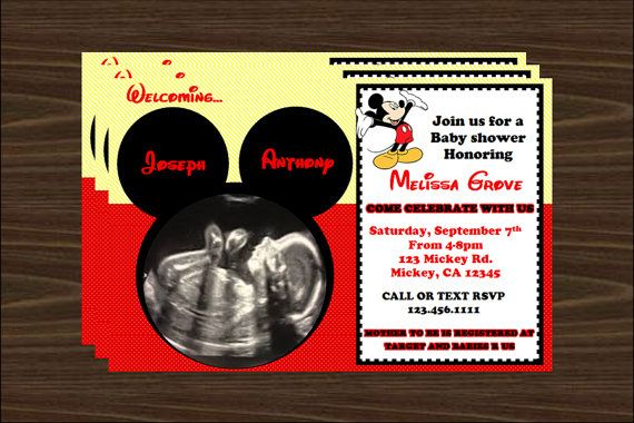 Mickey Mouse Baby Shower Invite Digital File Baby Shower Party