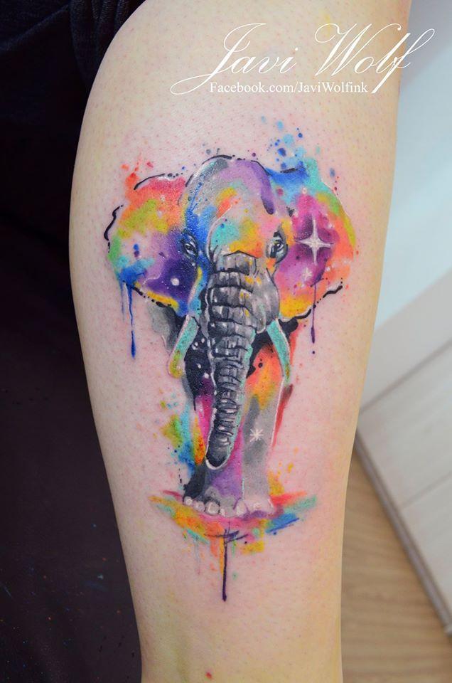 Javi Wolf elefante estilo acuarelas por javi wolf | tattoos | pinterest