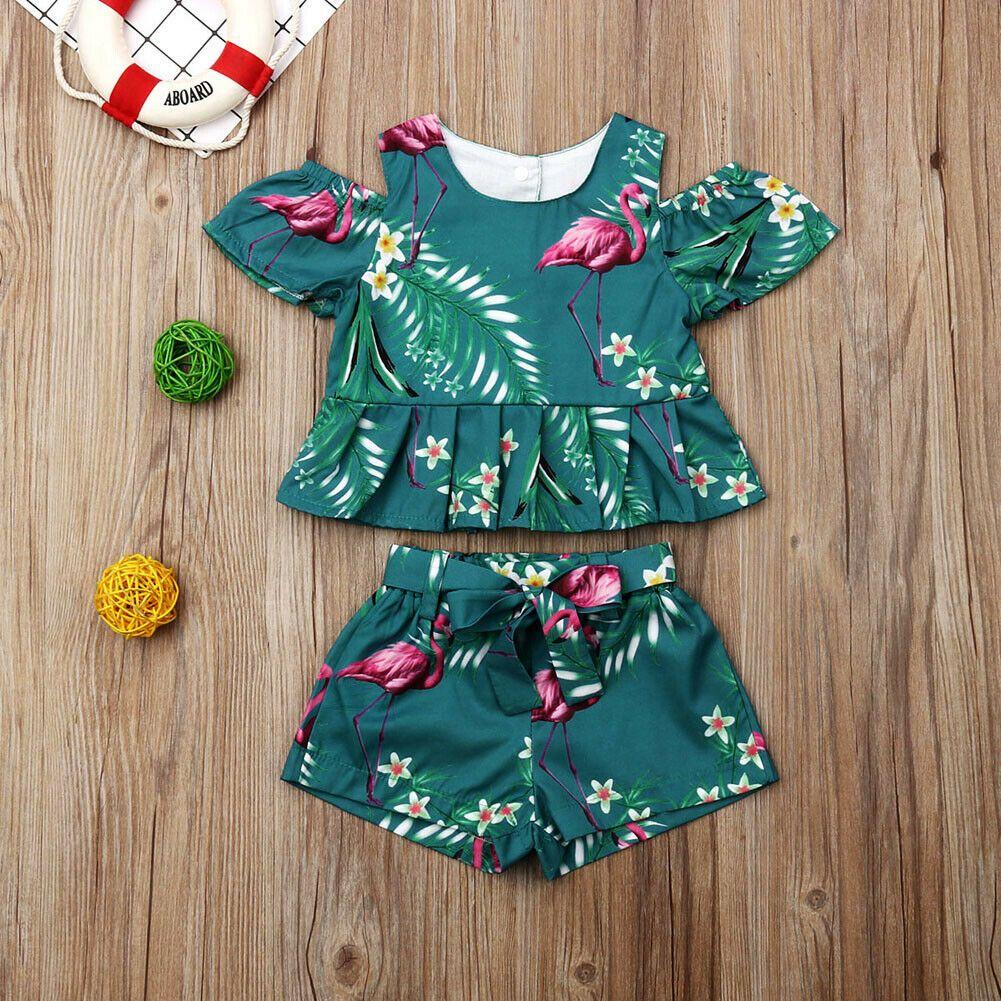 Toddler Kids Baby Girls Floral Clothes T-shirt Tops Dress Pants 2PCS Outfits Set