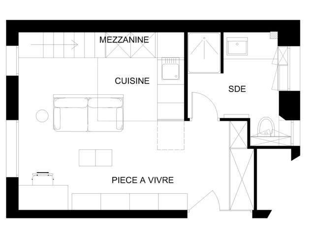 Studio Paris 12  une loge de 26 m2 transformée en studio Studio - prix d une extension de maison de 20m2