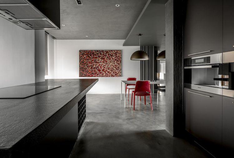 Farbe Grau -visuelle-effekte-küche-wohnkueche-kunstbild - farbe für küche