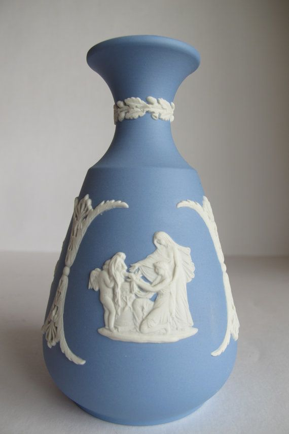 Wedgwood Vase Vintage Wedgwood Vase Blue Vase Grecian Vase Vintage