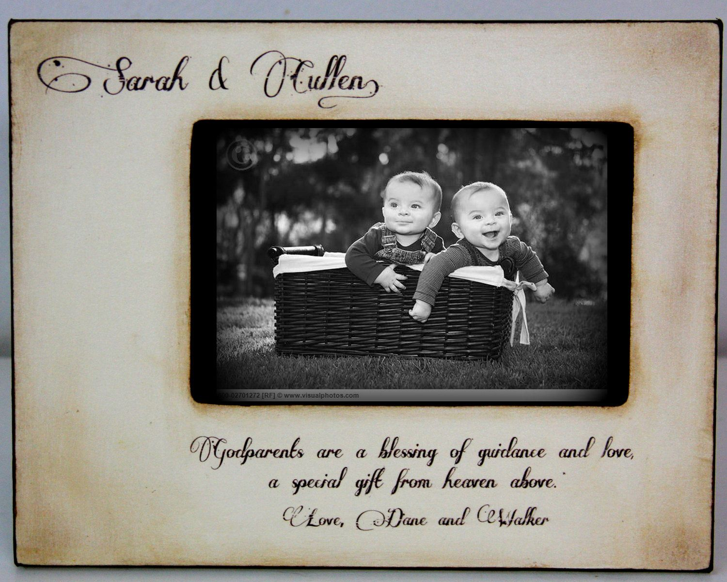rustic vintage godparents godfather godmother gift personalized picture frame 4x6 religious keepsake wdiamond accent