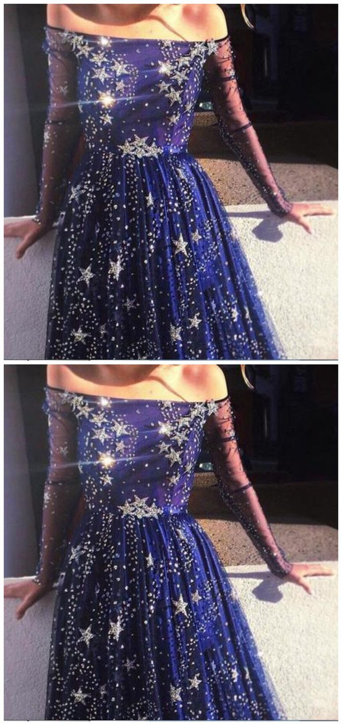 Navy blue star prom dress ,fashion dress ,FLY073