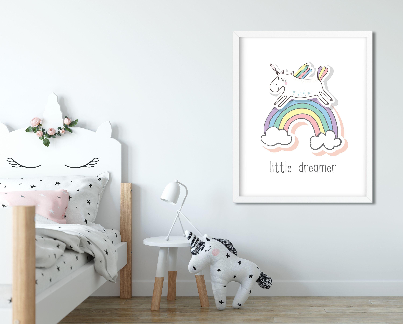 Little Dreamer Girls Unicorn Print Girls Nursery Quote Girls Room