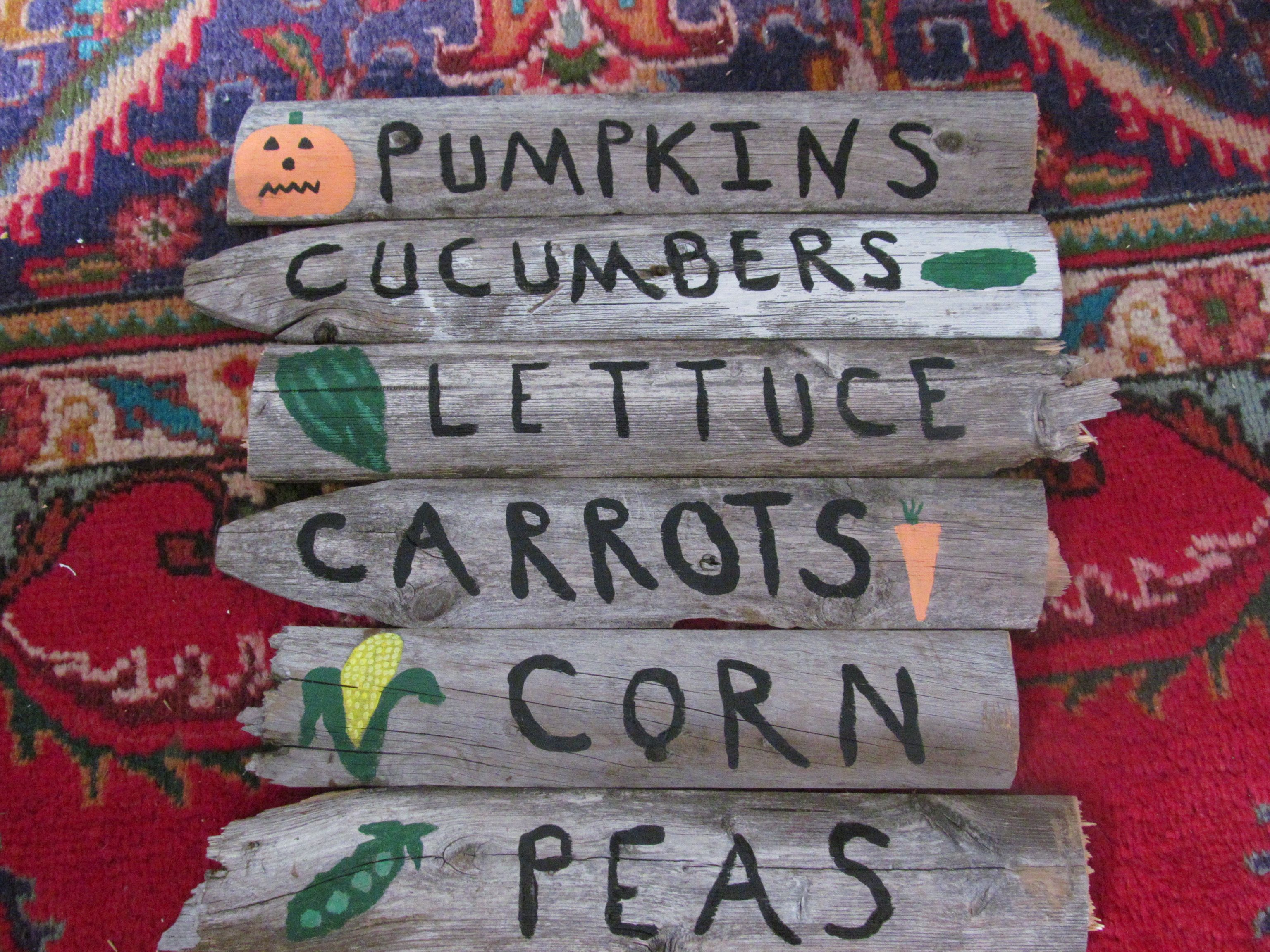 vegetable signs for the garden