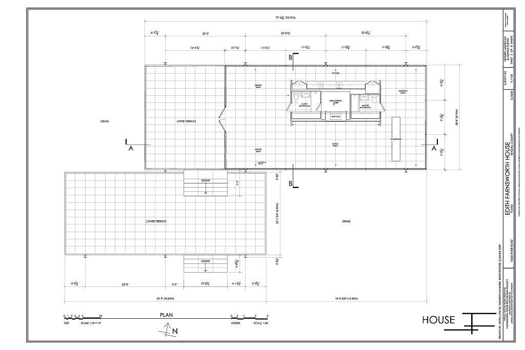 Farnsworth House - Mies van der Rohe - 1951 Floor Plan & Section | Mies  inspiration | Pinterest | Farnsworth house, Vans and Ludwig mies van der  rohe