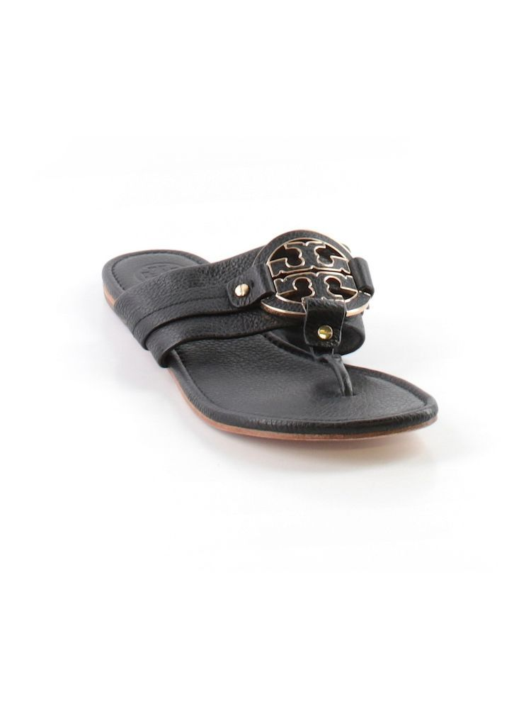 Women Tory Burch Amanda Black Leather Thong Flip Flop Sandal Shoe Size 11 M  #ToryBurch