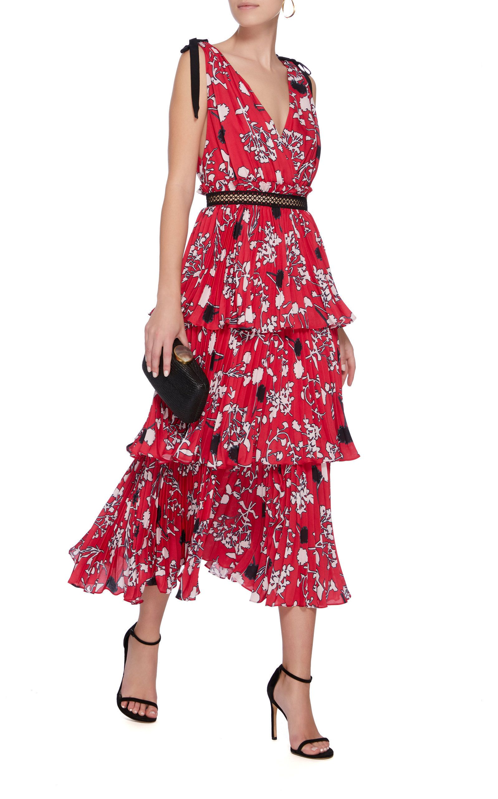 a31f7e8fdbc5 Tiered Floral Print Midi Dress by SELF PORTRAIT Now Available on Moda  Operandi