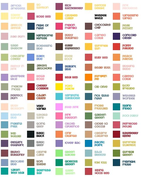 Color Chart My Digital Studio Card Making Pinterest Stampin