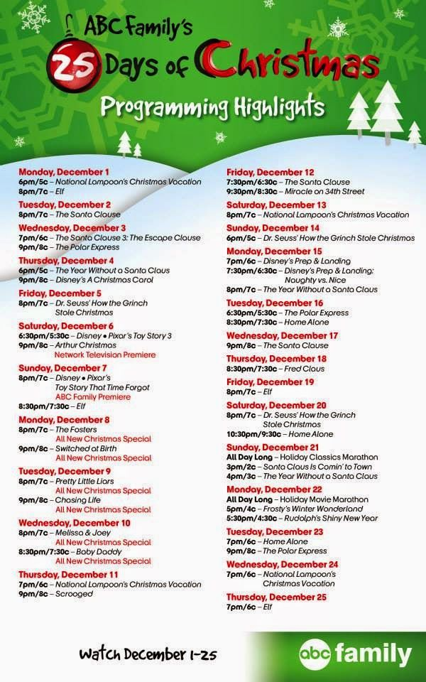 25 days of christmas on abc family 2014 full schedule dec 1 25 2014 set your dvrs - Abc 25 Days Of Christmas Schedule 2014