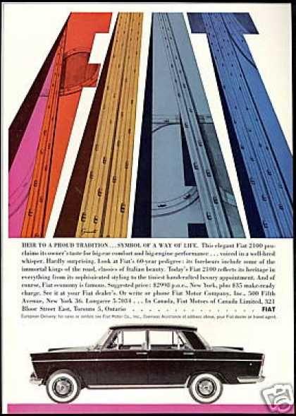 Fiat 2100 Highway Art Photo Print Vintage Car 1960 Fiat Vintage