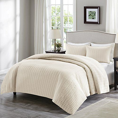 Comfort Spaces – Kienna Quilt Mini Bedspread Set - 3 Piece – Ivory– Stitched Quilt Pattern – Full/Queen size, includes 1 Quilt, 2 Shams