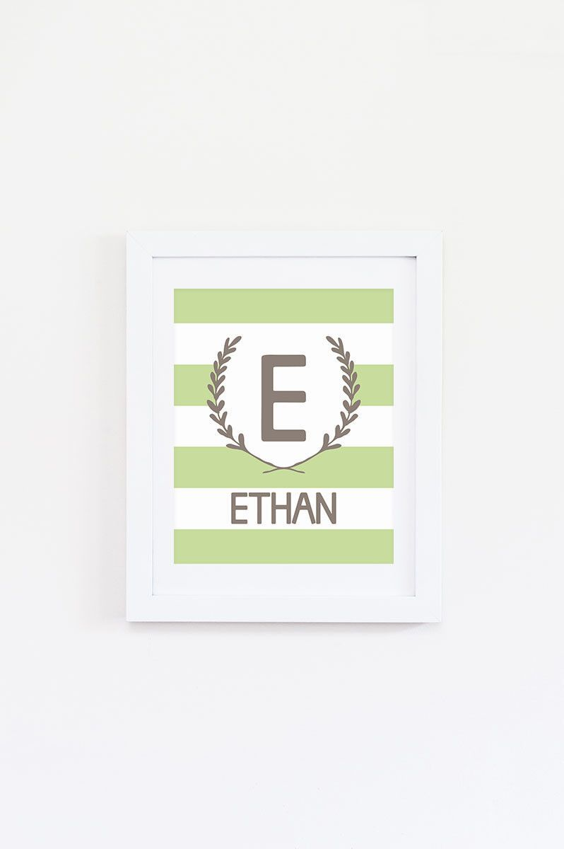 Striped nursery name art print mall support small business and