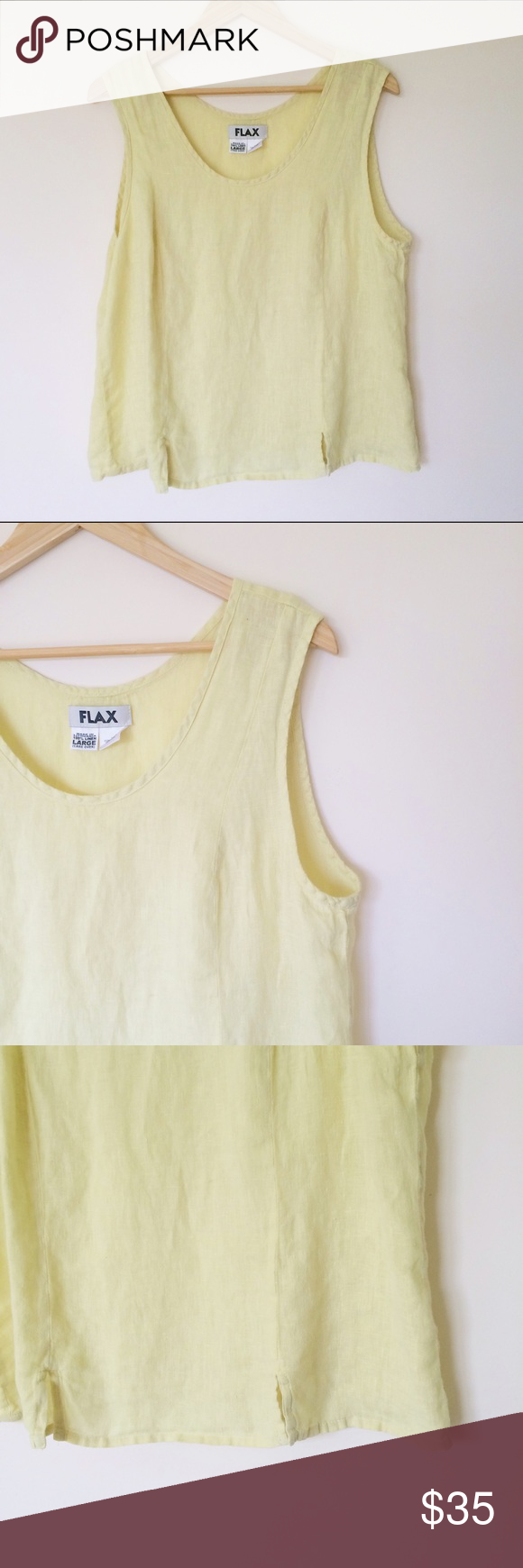 "Price dropped!!! FLAX linen tank top Vintage linen tank top in light yellow color. Excellent condition. Suing on the label: I am considerate of others. Size L. Flat measurements: underarms:24"", length:23"". From pet free and smoke free home. Flax  Tops Tank Tops"