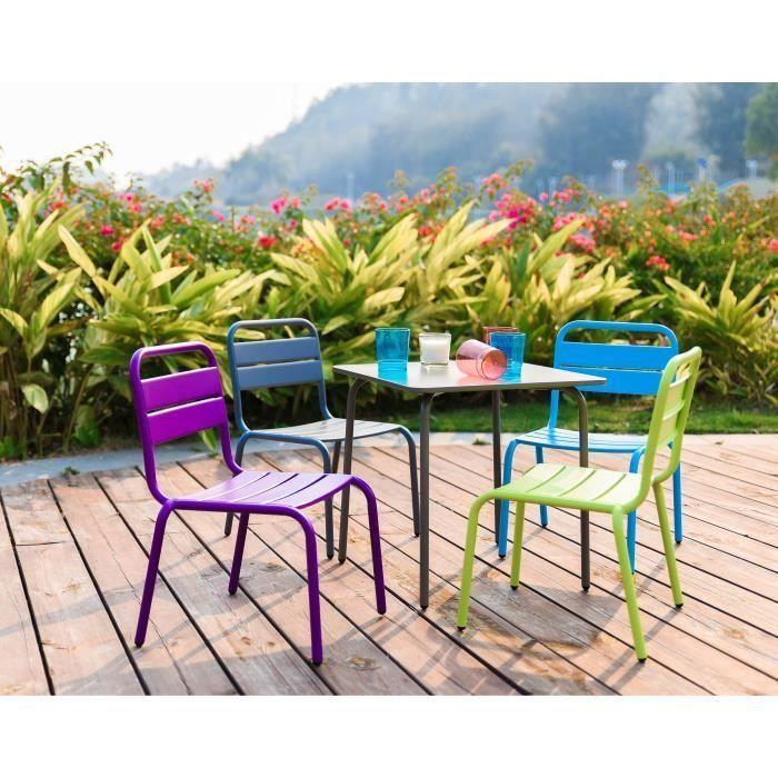 et jardin table enfant 4 acier en chaises de pour Ensemble PkuOiTXZ