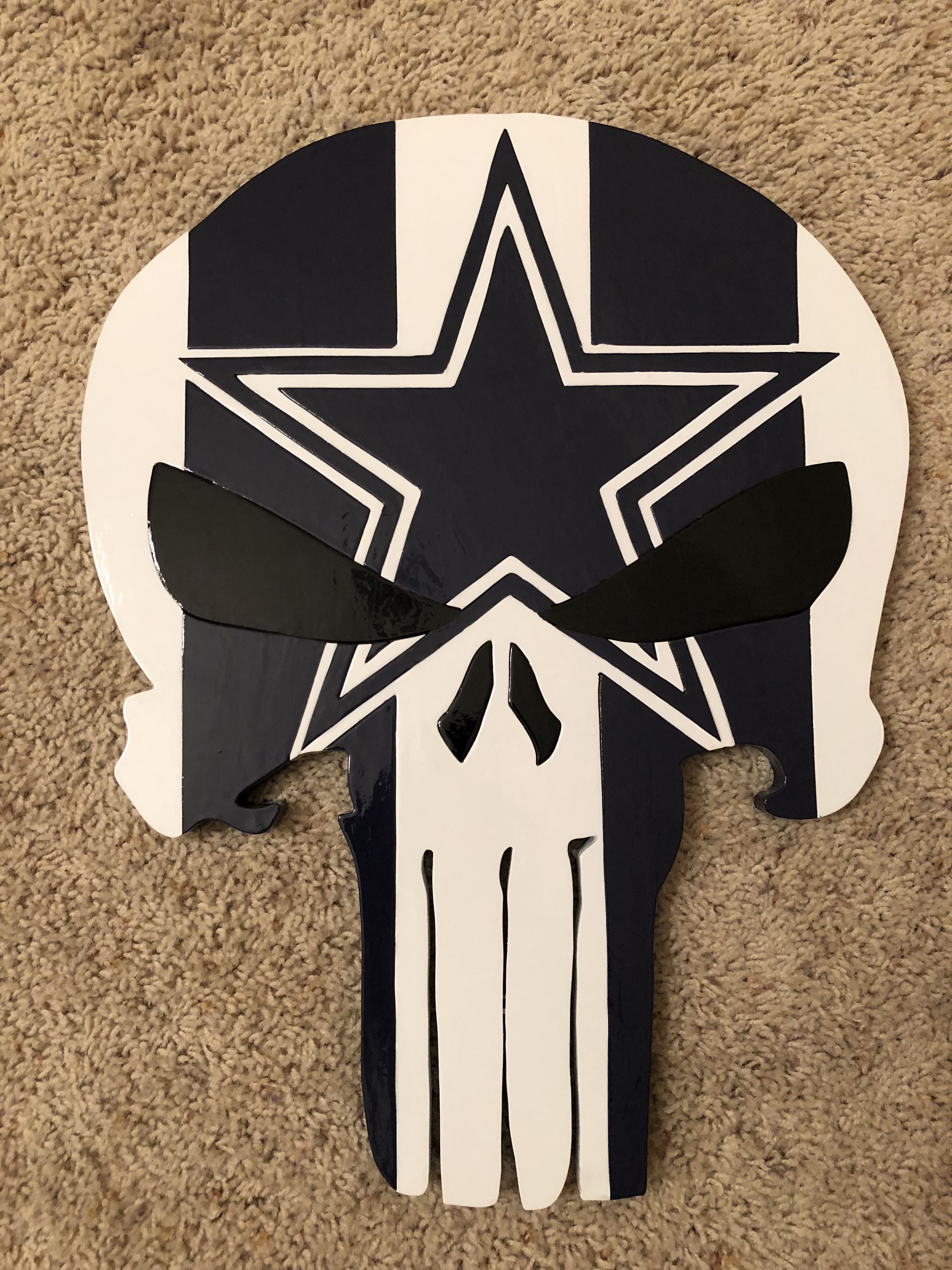 Wooden Dallas Cowboys Punisher Woodie Wood Art Wooden Wall Hangings Wall Hanging