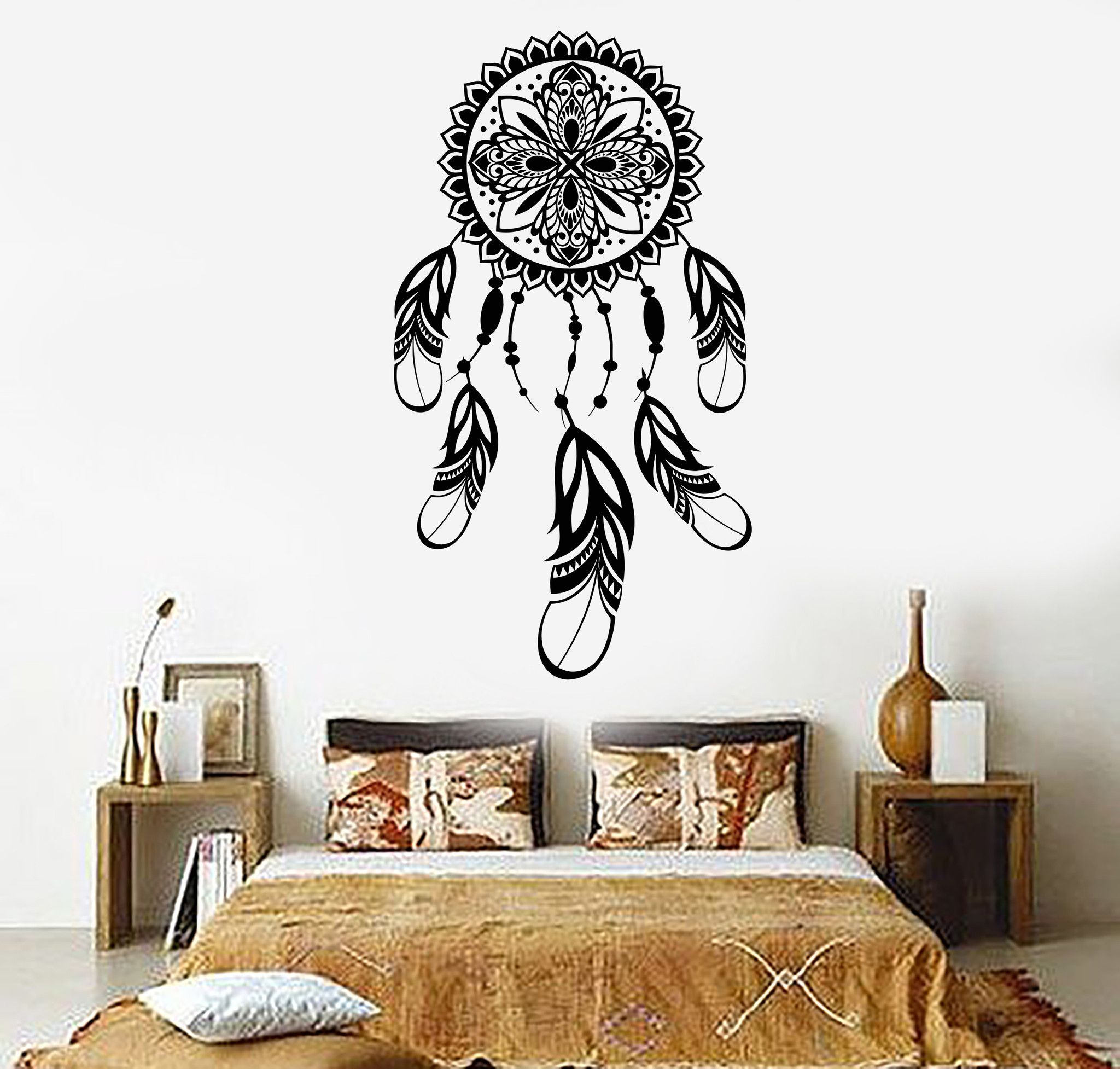 Vinyl wall decal dreamcatcher feathers talisman bedroom stickers