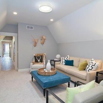 Tan Beige Carpet Blue Gray Walls Attic Living Rooms Bedroom