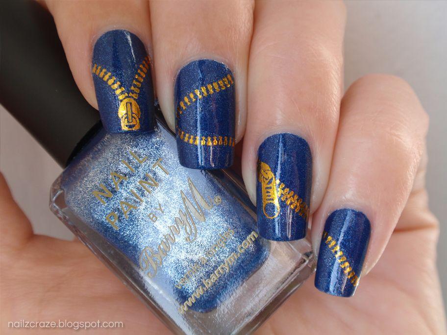 Barry+M+Denim+blue+gold+zipper+water+decal+nail+art#nails