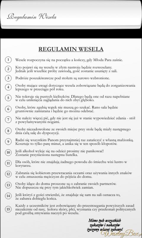 Regulamin Wesela Wedding Planning Guideline Wedding Plannig Wedding Inspiration
